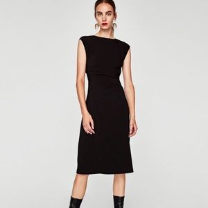 🛍ZARA Black Sleeveless Fitted Midi Dress Large